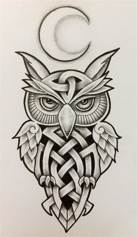 celtic owl and moon by tattoo design on deviantart