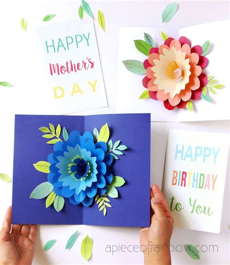 birthday pop up cards templates flower pop up flowers diy printable s day card a