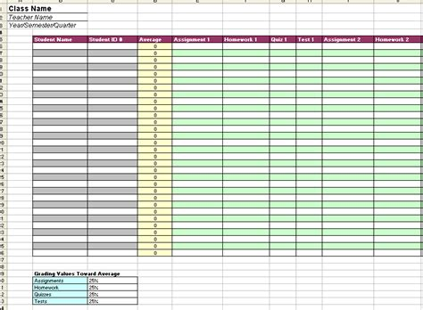 grade book template printable sle gradebook excel template
