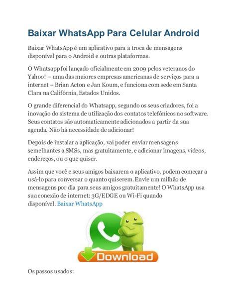 tutorial baixar whatsapp android baixar whats app para celular android