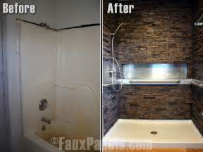 make your shower joy look and use with touch faux stone ledger panels bill ray tile