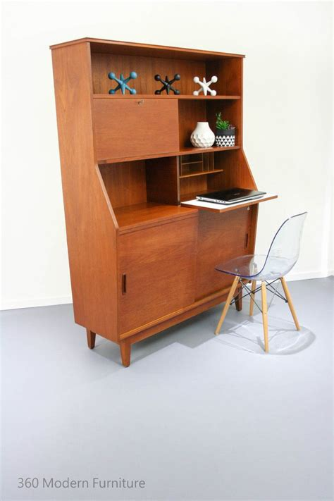 mid century sideboard cocktail bar cabinet desk all in one