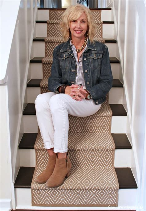 autumn styles over 50 fashion over 50 white jeans in fall southern hospitality