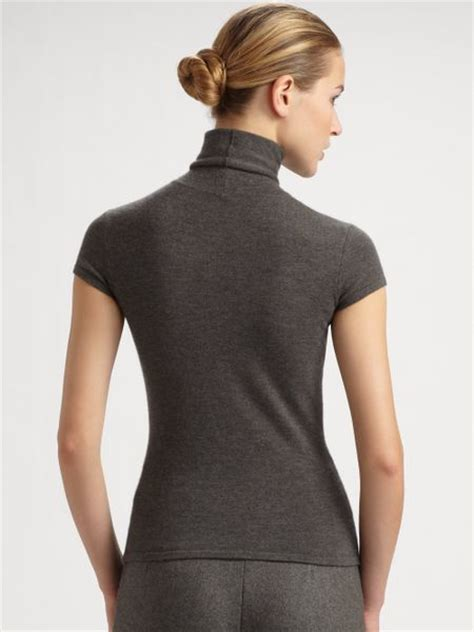 Gray Turtle Neck Top Z006 ralph collection capsleeve turtleneck top in gray grey lyst
