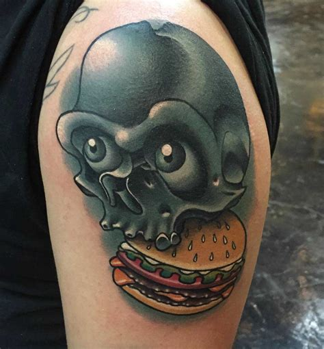 burger tattoo skull burger best ideas gallery