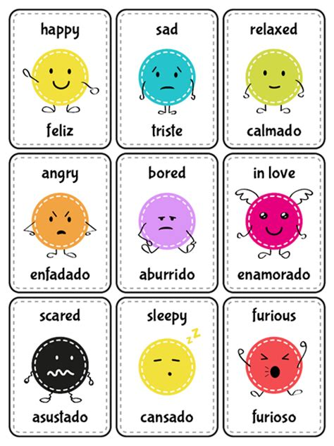 spanish english flashcards printable flash cards emotions in english and spanish