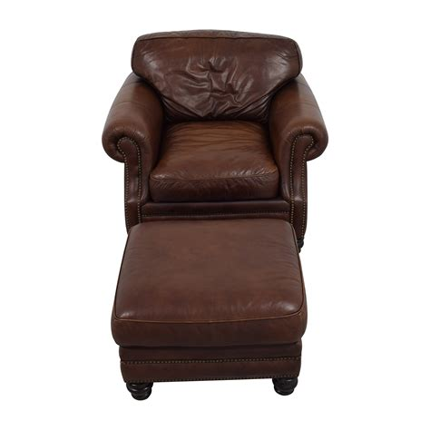 brown leather armchair with ottoman cynthia rowley upholstered chairs second