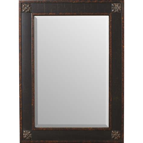 Beveled Bathroom Vanity Mirror Rosalind Wheeler Rectangular Beveled Vanity Mirror In Distressed Walnut Brown Reviews Wayfair