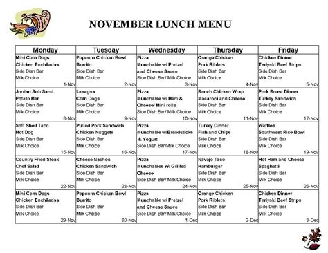 5 best images of printable lunch menus pick your lunch