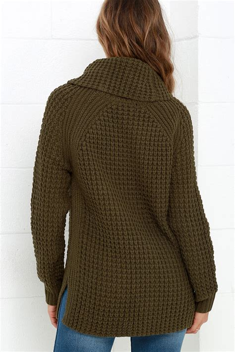 olive green knit sweater cozy olive green sweater waffle knit sweater cowl neck