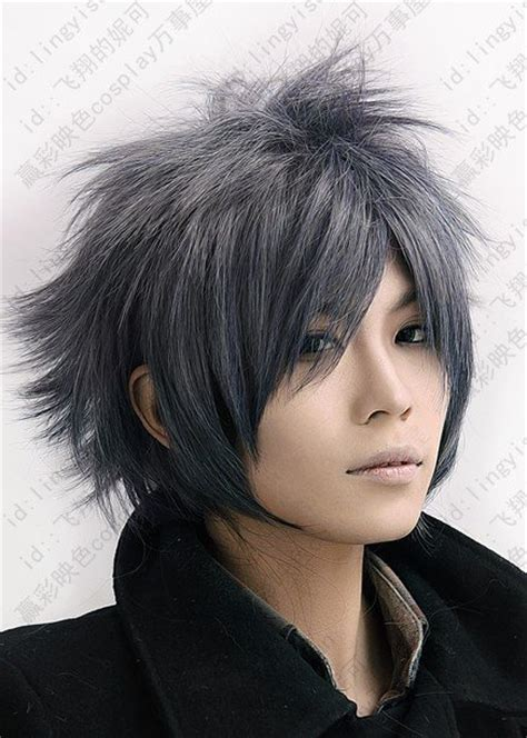 anime hairstyles male real final fantasy versus 600 grey short shaggy anime cosplay