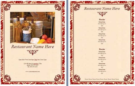 restaurant menu templates free word microsoft word templates restaurant menu template