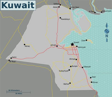 middle east map showing kuwait map of kuwait overview map worldofmaps net