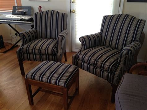 striped chair and ottoman denim blue striped matching chairs and ottoman