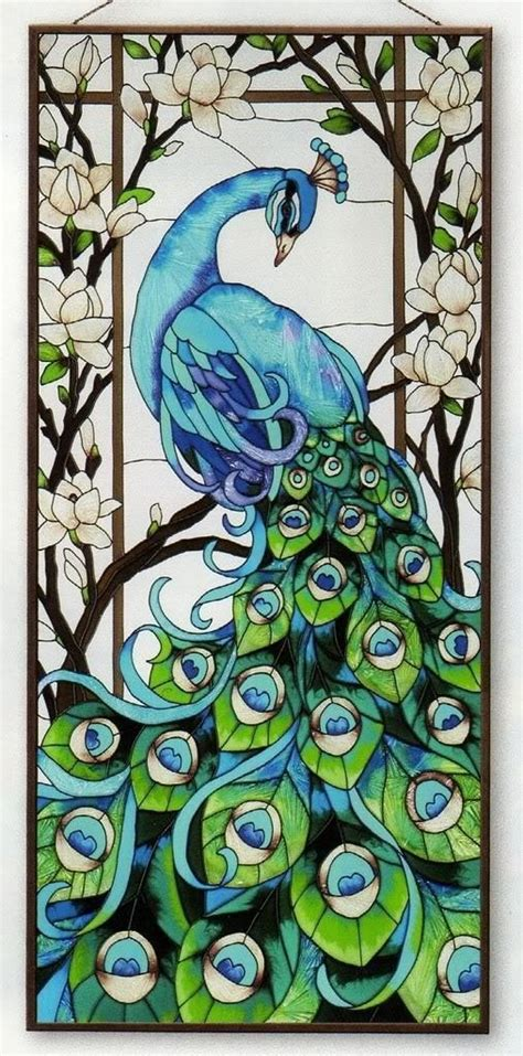 magnificent peacock 17x37 stained glass window panel