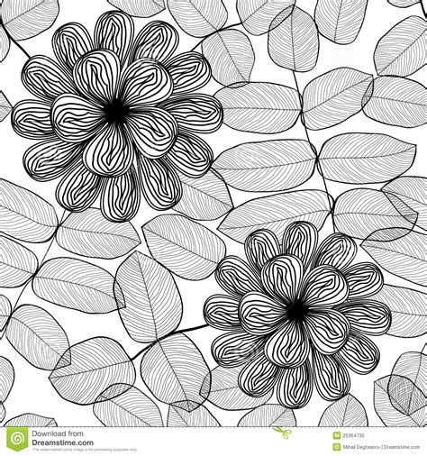 seamless pattern black and white seamless stylish black and white floral pattern stock