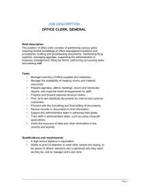 Duties Of A by Office Clerk General Description Template Sle Form Biztree
