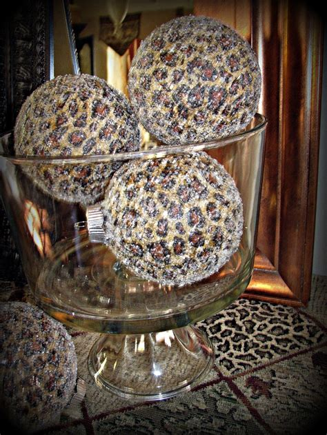 set of 4 glass jumbo leopard cheetah animal print ornaments