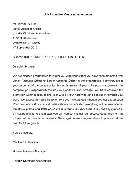 job promotion letters templates templatelab