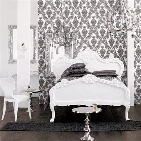 black and white wallpaper bedroom black and white bedroom damask wallpaper chandelier