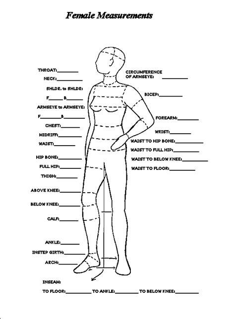 pattern making measurement chart free printable body measurement chart women s