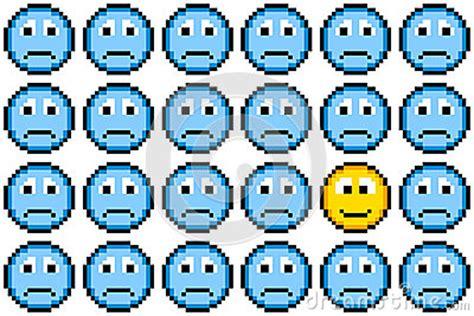 bit pixel art sad faces   happy face stock images