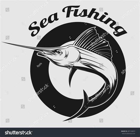 sailfish boat emblem vector emblem sea fishing swordfish marlin stock vector