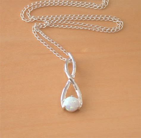 white opal necklace 925 white opal pendant 18 quot silver chain white opal