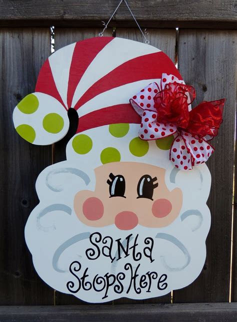 christmas wooden santa door hanger