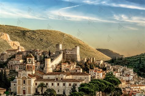 Famous Stairs itri with its medieval castle surrounded by hills of olive