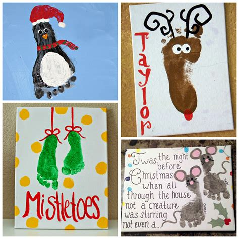 adorable christmas footprint crafts for kids crafty