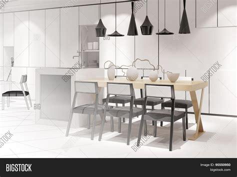 modern kitchen interior 3d rendering sketch modern eat kitchen dining image photo bigstock