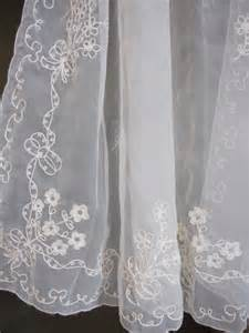 Embroidered Sheer Curtains Vintage Sheer Curtains Embroidered Sheer Cafe By Thecottageway