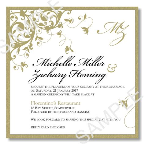 Budget Wedding Invitations Template Wedding Flourish Gold Budgetweddingstationery Com Au Wedding Invitation Sles Free Templates