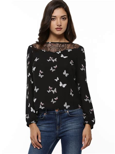 Buterfly Blouse buy oasis butterfly print lace insert blouse for s black blouses in india