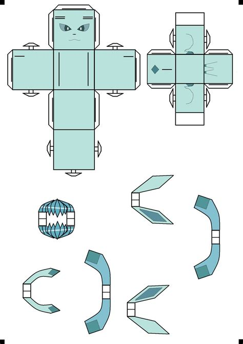 Glaceon Papercraft - glaceon cubee by klebers on deviantart