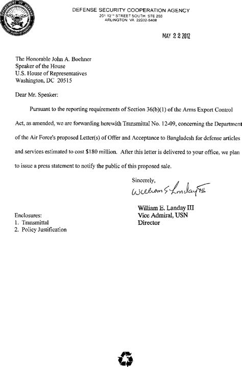 Justification Letter For Computer Equipment Sle Federal Register 36 B 1 Arms Sales Notification