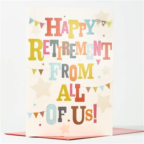 retirement greeting card template retirement card from us all only 99p