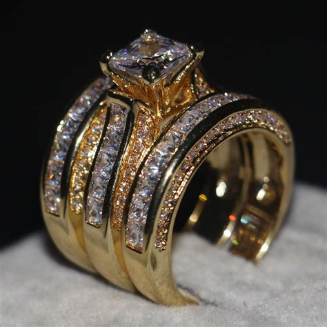 3 In 1 Rings promotion jewelry 3 in 1 wedding ring 14kt yellow gold filled princess cut 5a zircon