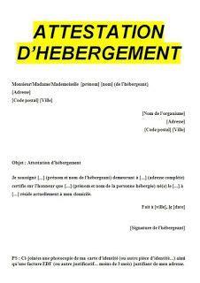 attestation d h 233 bergement doc exemple et mod 232 les de