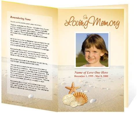 memorial bulletin template funeral programs template seashore single fold template
