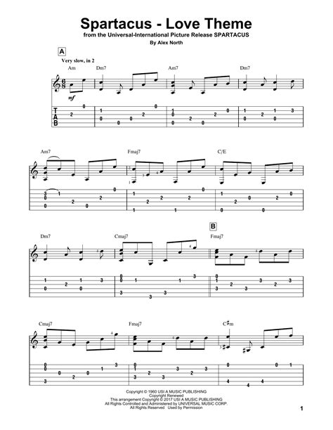 mohabbatein love themes guitar tabs spartacus love theme guitar tab by alex north guitar