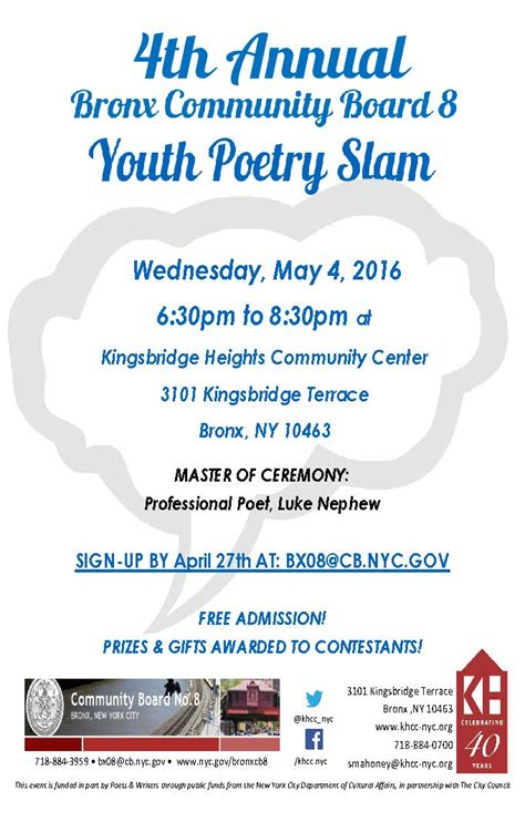bronx community board  youth committee poetry slam