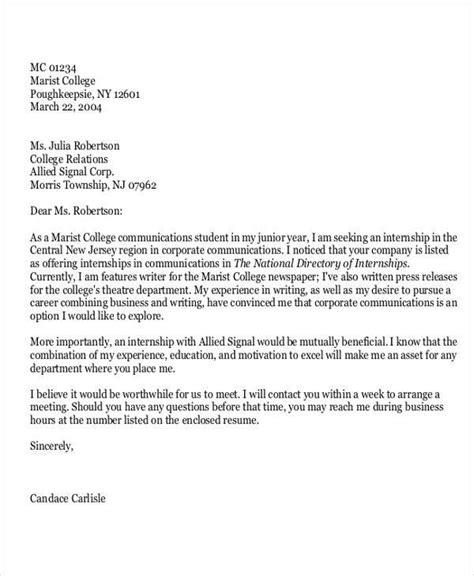 internship job application letters word