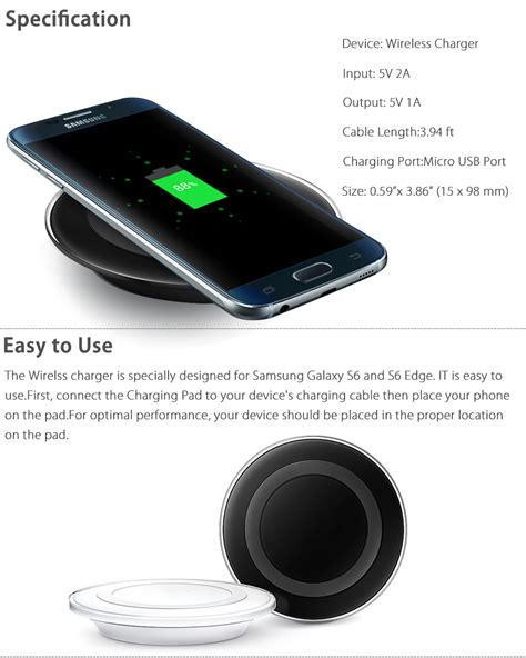 Samsung Wireless Charger S6 S6 qi wireless charger charging pad dock cable for samsung