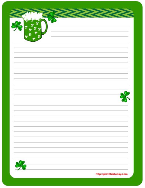 st patricks day writing paper s day writing paper free printable