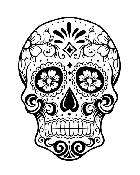 sugar skull candy skull day day of the dead skull coloring page 1 because i can