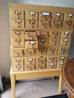 Vintage 35 Drawer Blond Wood Index Library Card Catalog