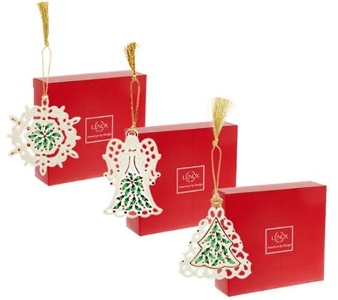 qvc christmas packaging lenox s 3 porcelain ornaments with gift boxes page 1 qvc