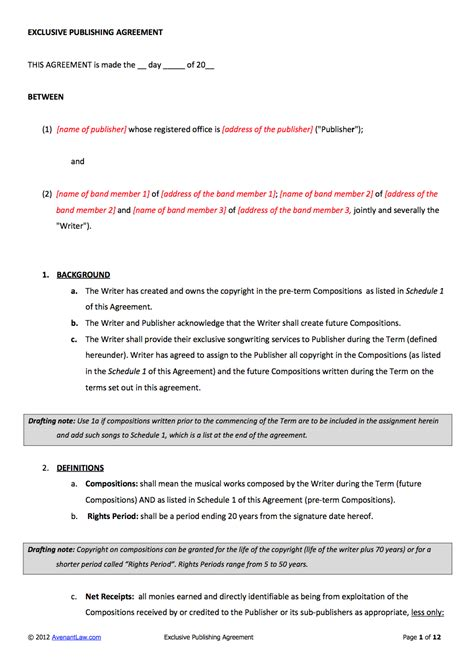 publishing agreement template publishing contract template